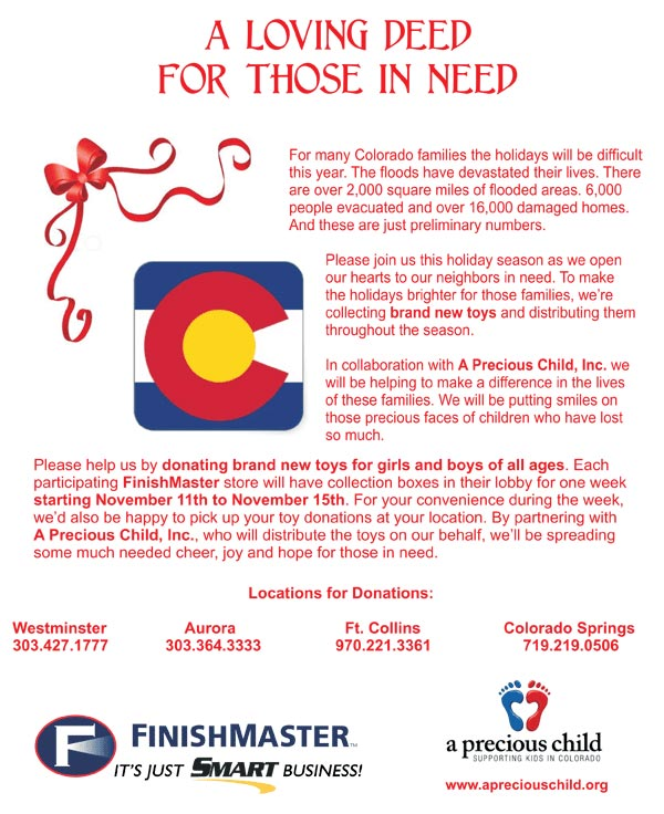 A Good Deed For All | FinishMaster Colorado Community Toy Drive in collaboration with A Precious Child, Inc.